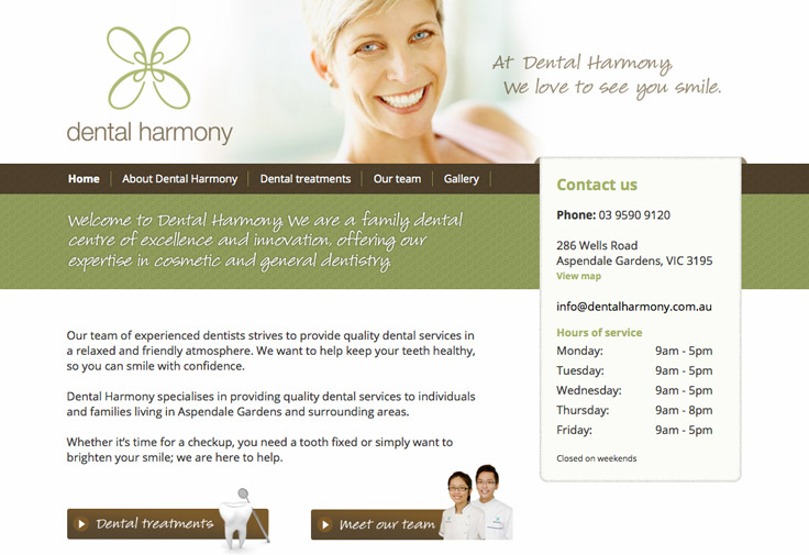 Dental Harmony Web Design