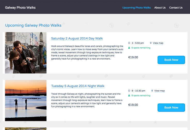 Galway Photo Walks Website Development