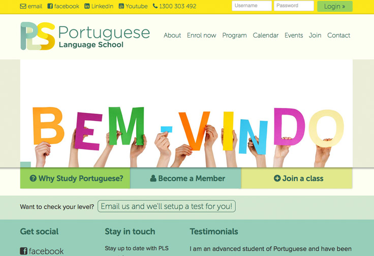 Portuguese Language School Web Design