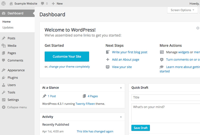 Wordpress Training and Tutorials Galway - Dashboard